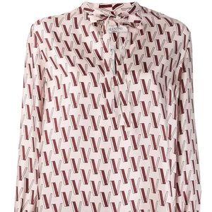 Valentino v print current silk blouse 40 it